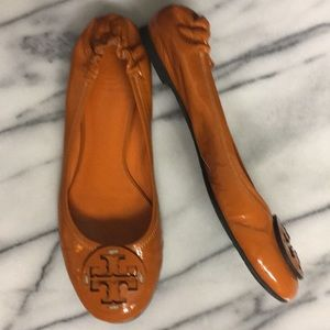 Tory Burch Orange Leather Flats size 8.5M Shoes